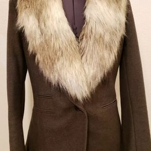 Ann Taylor loft wool blazer with fur collar size 6